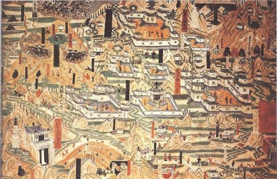 Mogao_Cave_61,_painting_of_Mount_Wutai_monasteries
